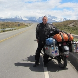 Geoff Bransbury on his bike in Chile